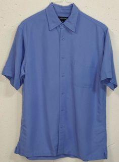 Lands End Mens 65% Blue 35% Rayon Poly Short Sleeve Button Down Shirt Medium M #LandsEnd #ButtonFront