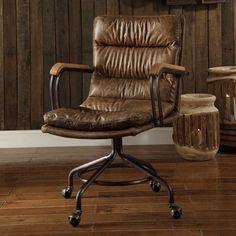 Acme Furniture Hedia Top Grain Leather Computer Task Chair - 92417