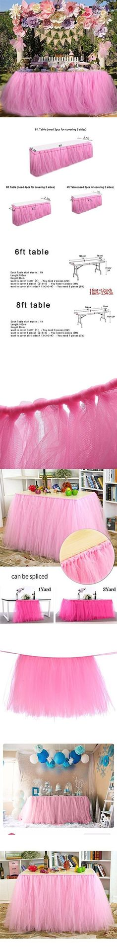 BIG BIG XUAN Tulle Tutu Table Skirt Christmas Table Covers Decorations for Home Wedding Birthday Party Table Decorations (91.5cmX80cm, Pink)