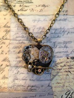 Vintage Heart Base Steampunk Necklace by LoveEuniceDesigns, $24.00