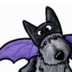 © KiniArt™ - ALL Rights Reserved. Batdog Scottie Dog Art Original Drawing ACEO Halloween by KiniArt, $40.00