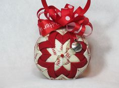 Baseball Quilted Ornament  no sew  beige by KCFabricOrnaments