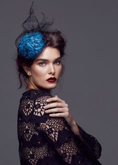 CHRISTIE Millinery SS16 Couture leather and textured crinoline headpiece + Zimmerman