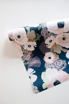 UNE FEMME blush and navy floral 20 x 29 gift wrap