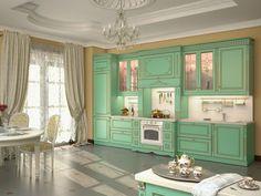 """Кухня """"Версаль"""". Атмосфера благородной роскоши резиденции французских королей. Уникальная целостность замысла и гармония форм. Изысканные детали выдержаны в классическом стиле и соответствуют статусу своего владельца. • фасады крашеные с золотой патиной, ручная работа • каминный портал с эксклюзивным орнаментом • ручки SWAROVSKI c металлом, покрытым 24-каратным золотом • высокий классический карниз"""