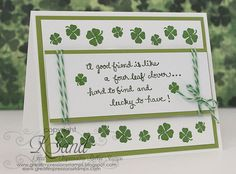 handmade St. Patrick's Day card: Lucky to Have by jksand ... luv the layout for presenting a little poem, limerick or blessing ... stamped shamrock border with silver seed beads at the centers ... like it!! ... Great Impressions Rubber Stamps