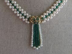 Emerald+&+Pearl+Necklace