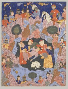 "Falnama (The Book of Omens), 1550s. Safavid period (1501–1732). Iran, Qazvin. The Metropolitan Museum of Art, New York. Rogers Fund, 1935 (35.64.3) | This folio is from a manuscript of ""The Book of Omens (the Falnama),"" an illustrated divinatory book. Seven sleepers and their dog rest peacefully at the center, unaware of the outside commotion. #dogs"