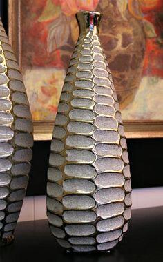 Metallic glazed vase with interesting texture.