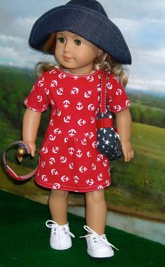 Anchor Print Knit Dress with Hat and Purse for Contemporary 18 inch Girls. $49.00.