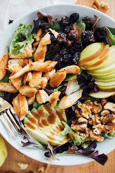 Spring Salad with pears, avocado, walnuts, cherries & Balsamic