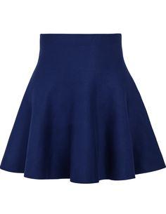 Falda volante cintura alta-azul