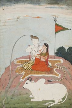 PARVATI OFFERS A PLATE TO SHIVA ON MOUNT KAILASA Opaque watercolor heightened with gold on paper image: 8 1/8 by 5 1/2 in. (20.7 by 14 cm) India, Pahari, Guler, circa 1790