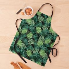 """""""Bright Green Fern Palm and Monstera Tropical Jungle Plants"""" Apron by podartist   Redbubble Tropical Leaves, Tropical Plants, Custom Aprons, Apron Designs, Bright Green, Ferns, Print Design, Palm, Monstera Leaves"""