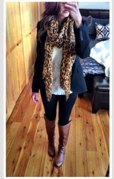 Leopard scarf and riding boots