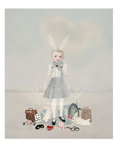 Illustration by Art and Ghosts. Art And Illustration, Illustrations And Posters, Big Eyes Artist, Rabbit Drawing, Rose Boutique, Fairytale Art, Artist Art, Alice In Wonderland, Cool Art