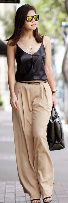 Catrina Light Brown Wide Leg Trousers by Fake Leather