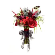 Red wedding bouquet of astilbes, thistles, allium, pulsatillas, leucadendrons, peonies, pennisetum, wizard roses, scabiosa, and callas