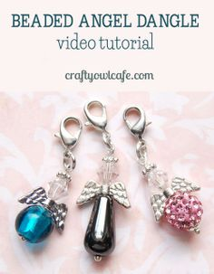 Video tutorial - beaded angel dangle charm ♥ jewelry-making basics