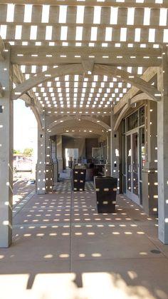 Storefront ShadeScape™ pergola kit with TimberVolt™ power posts. Timber Pergola, Garage Pergola, Building A Pergola, Modern Pergola, Pergola Canopy, Backyard Pergola, Pergola Shade, Pergola Plans, Pergola Kits
