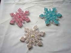 Colors of Christmas Quilled Snowflake Ornaments by joanscrafts, $24.00