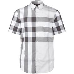 Burberry Brit Check Short Sleeve Shirt ($245) ❤ liked on Polyvore featuring men's fashion, men's clothing, men's shirts, men's casual shirts, mens button down collar shirts, mens short sleeve shirts, burberry mens shirts, mens casual short-sleeve button-down shirts and mens cotton short sleeve shirts