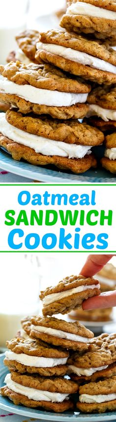 Oatmeal Sandwich Cookies have a creamy, thick marshmallow filling sandwiched between 2 chewy , but soft oatmeal cookies. (m&m oatmeal bars) Cookie Desserts, Just Desserts, Cookie Recipes, Delicious Desserts, Dessert Recipes, Yummy Food, Fall Desserts, Crinkle Cookies, Soft Oatmeal Cookies