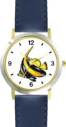 Striped Black & Yellow Angel Fish Animal - WATCHBUDDY® DELUXE TWO-TONE THEME WATCH - Arabic Numbers - Blue Leather Strap-Size-Children's Size-Small ( Boy's Size & Girl's Size ) WatchBuddy. $49.95. Save 38%!