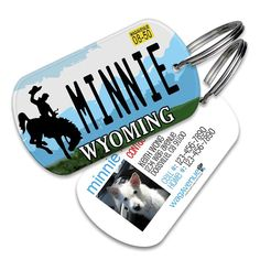 Wyoming License Plate Pet Tag - Personalized Pet ID Tags, Custom Dog Tags, Cat ID Tag, Dog Name Tags, Dog Tags for Dogs, Collar Tag by WagAvenue on Etsy #poochlife, #dogs #cats #mansbestfriend #pettags #wagavenue