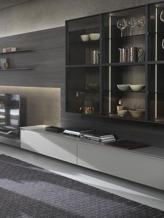 Black And Silver Wallpaper, Italy Food, Tv Unit, House Design, Shelves, Architecture, Kitchen, Studio, Home Decor