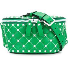 Valentino VLTN Valentino Garavani Free Rockstud belt bag ($1,154) ❤ liked on Polyvore featuring bags, handbags, green, genuine leather handbags, quilted leather purse, green purses, quilted handbags and valentino purses