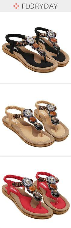 4cde7d975f5 Beading Flats Slingbacks Leatherette Flat Heel Shoes