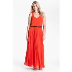 MICHAEL Michael Kors Pleated Chiffon Tank Dress ($195) ❤ liked on Polyvore