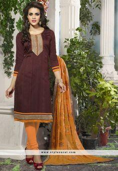 Latest Churidar Salwar Kameez In 2 Piece Combo Pack Of Brown Color