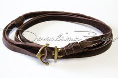 Handcrafted Chocolate Brown Genuine Leather Nautical Anchor Bracelet - Silver or Bronze on Etsy, $11.95