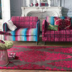 Zakharov Berry Area Rug | Designers Guild USA raspberry and light blue, yum!