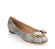 Salvatore Ferragamo - Ballerina flat in grey shell python with gold metal logo bow