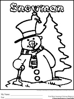 Christmas Coloring Pages For Kids Snowman