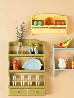 Show-Off Spice Racks: Typically used to display collectibles, these shelves are now the collectibles themselves. Watch for small spice racks and shelves at resale shops and yard sales. Paint them in a variety of soft cottage colors and hang them on the wall.