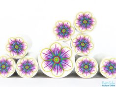 Lavender, Pink & White Polymer clay Flower cane , raw and unbaked polymer clay millefiori Fimo cane by Ronit Golan