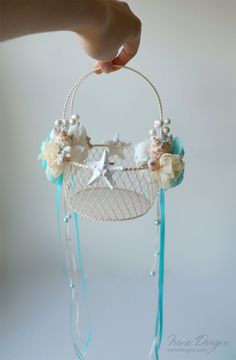 Flower Girl Basket For Beach Wedding. Aqua Blue And by IrenDesigns