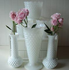 Milk Glass Hobnail Vases