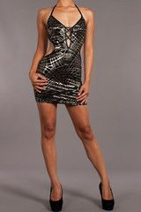Tangled – Black and Silver Sexy Strappy Mini Dress. Find this at Dress World: one of the web's top online shop for trendy clubbin styles, fashionable party dress and bar wear, super hot clubbing clothing, partying clothes, super cute and sexy club fashions.  MADE IN USA
