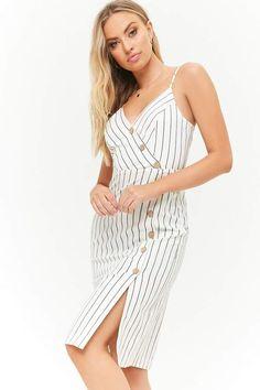 Striped Asymmetrical Button-Front Cami Dress  front princess asymmetrical  Vestido De Rayas a851293f6455