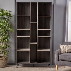 Noble House Daisy Modern Two Toned Faux Wood Bookshelf, Sonoma Grey Oak, Grey Oak, Black, Brown Online Furniture Outlet, House Materials, Deep Shelves, Wood Bookshelves, Noble House, Bookshelves, Faux Wood, Grey Oak, Furniture Outlet Stores