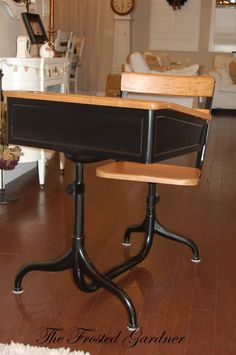 I have three old school desks that could use a facelift. I like my scratched up wook tops, but think a coat of black on the metal would look great! Painted School Desks, Old School Desks, Old School Toys, Old Desks, Antique School Desk, Vintage School, Furniture Projects, Furniture Makeover, Home Furniture