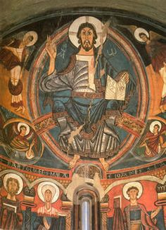 Christ in Majesty. Detail of apse, church of San Climent, Taull, Catalunya, Spain. Consecrated 1123. Museu Nacional d'Art de Catalunya, Barcelona.