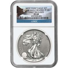 2013-W Silver American Eagle West Point 2pc Set 69 UC ER NGC Eagle Label / Reverse Proof