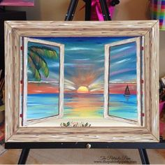 Sunset beach window acrylic painting on stretched canvas 8X10: