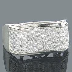 Affordable Mens Rings 10K Gold Diamond Ring 0.67ct